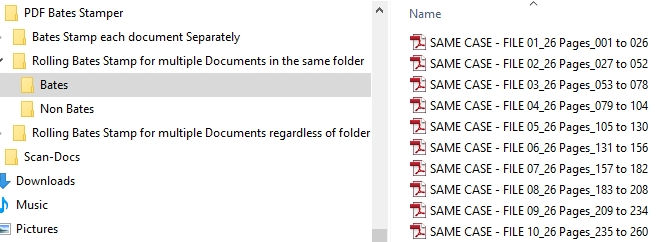 13 VDOCS Bates Stamping Results Same Case multiple Files