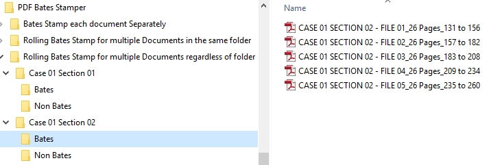 15 VDOCS Bates Stamping Results Multiple Cases multiple Files
