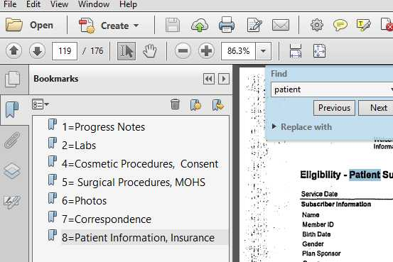 VDOCS Bookmark in Medical Record